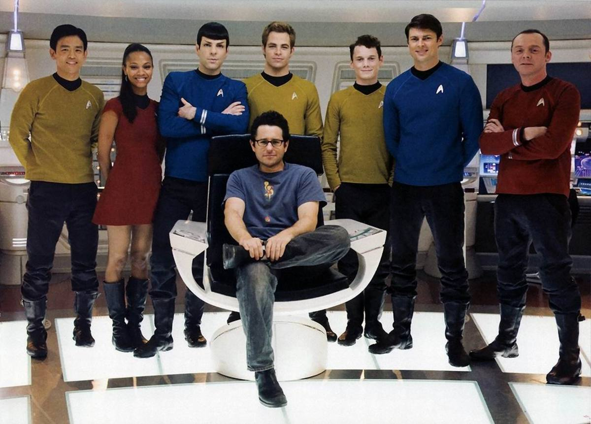 Director J.J. Abrams with the Enterpise crew