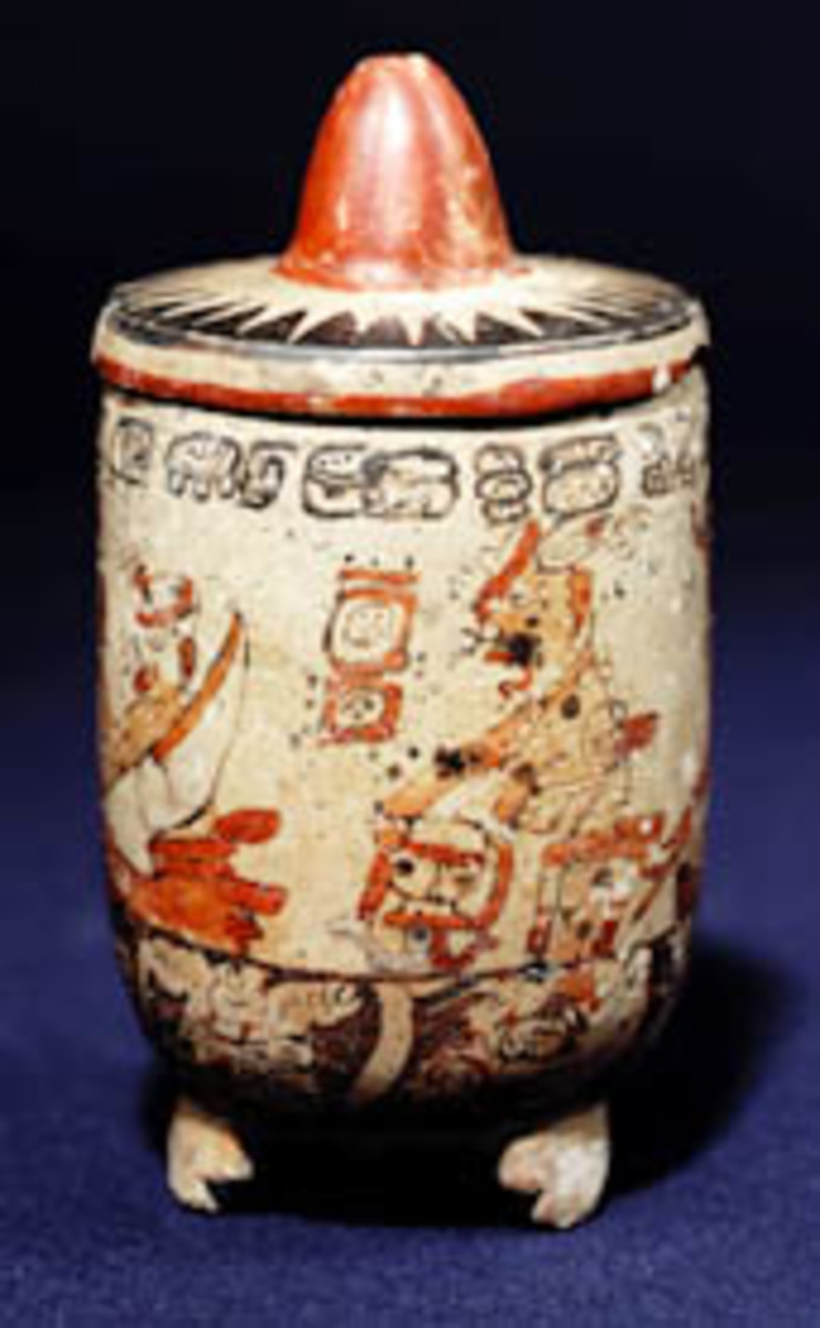 Late Classic polychrome Maya vase with lid and supports.