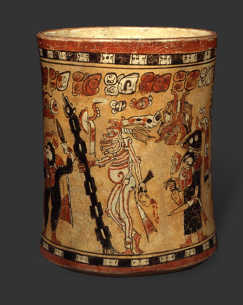Maya vase with eleven figures