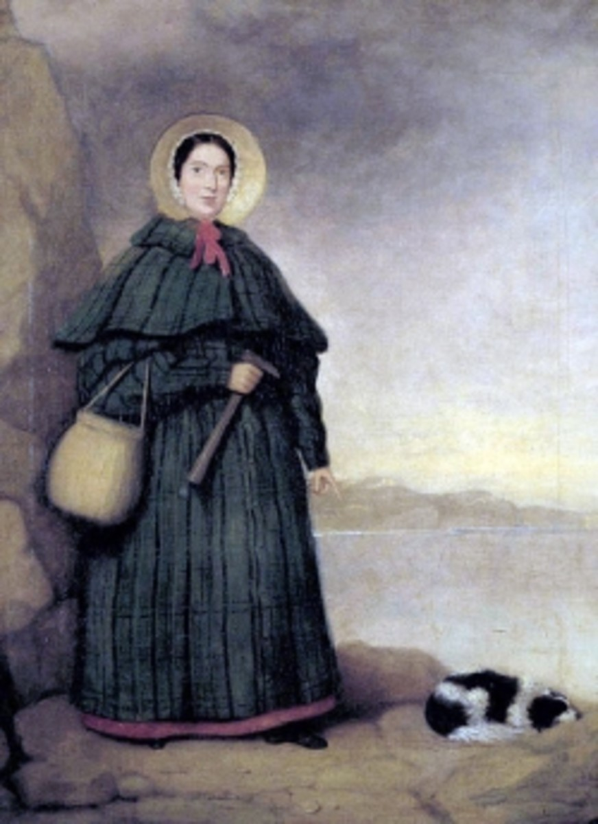 Portrait of Mary Anning with her dog Tray and the Golden Cap outcrop in the background,