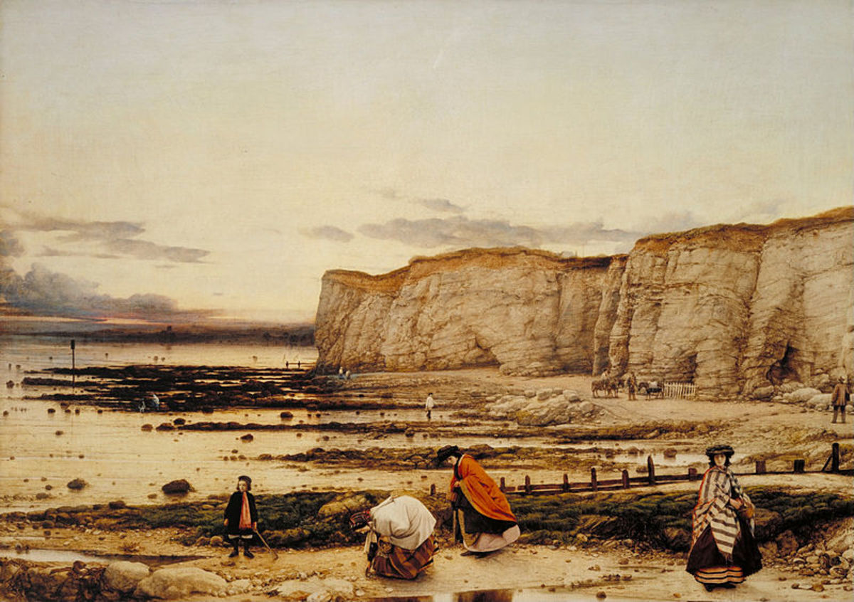 Pegwell Bay, Kent - a Recollection of October 5th 1858 by William Dyce,  This shows how popular beach combing and fossil hunting was at the time.
