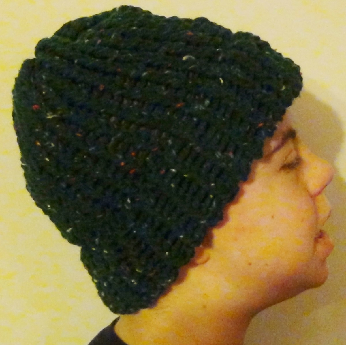 Hat with Brim Knitted on the Knifty Knitter Green Round Loom