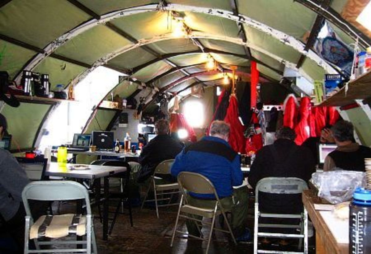 Inside a Jamesway hut on Antarctica