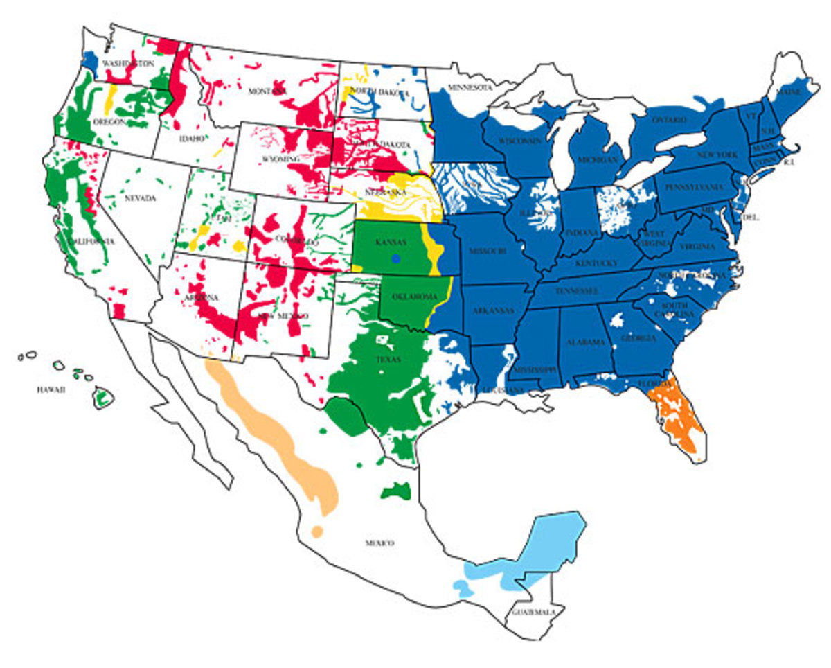 Blue represents the range for Eastern Wild Turkeys in the U.S. according to www.basspro.com