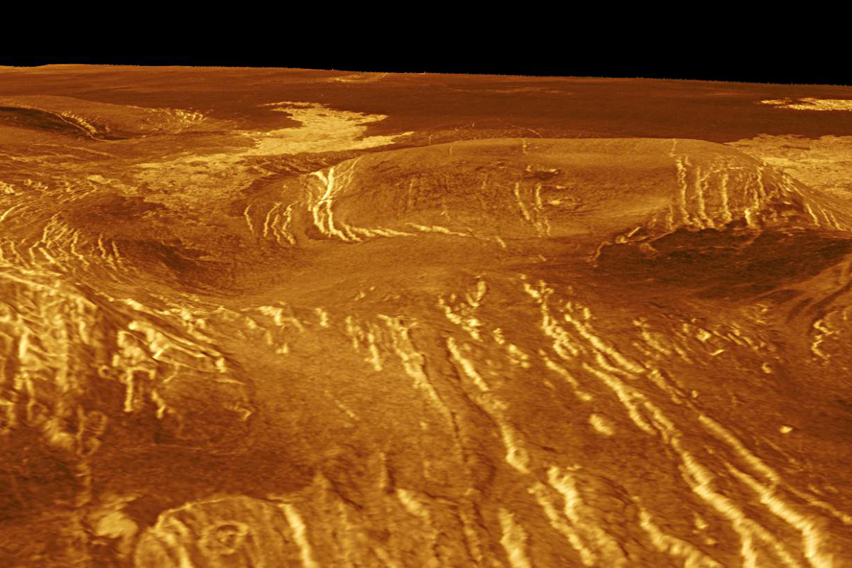 A 100 kilometre (60 mile) wide corona, lava flows and more evidence of the fractured, fissured surface of Venus are apparent in this image