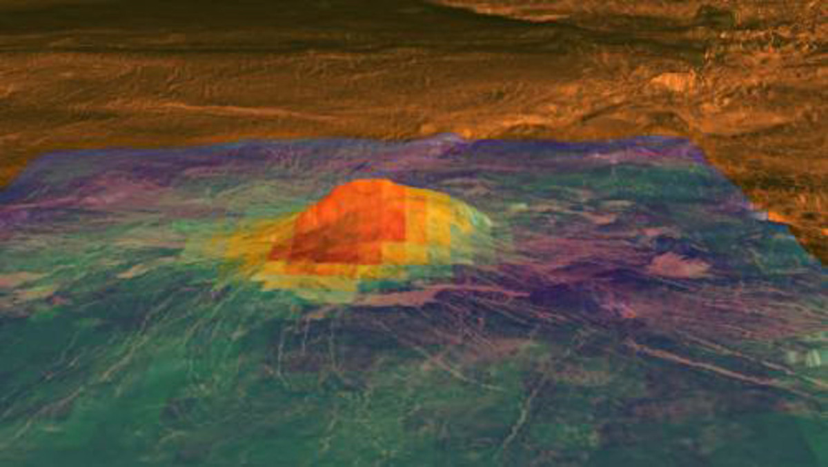 The 2.5 km high volcano Idunn Mons shows exhibits a heat signature close to its central vent, in this thermal and radar image - clear evidence that Venus remains active