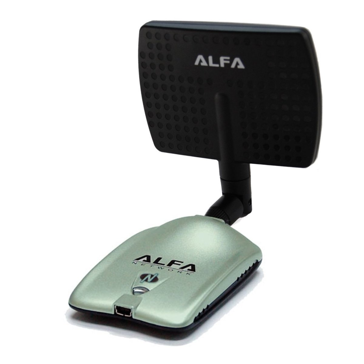 The Alfa AWUS036NH 2000mW with 7dbi flat panel antenna