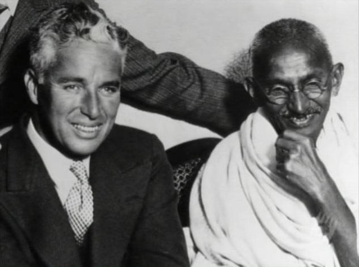 Mahatma Gandhi meets Charlie Chaplin in London