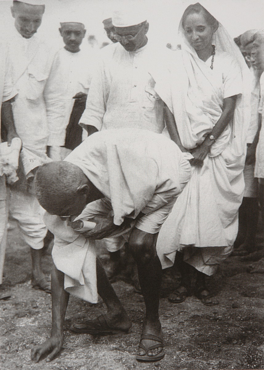 Mahatma Gandhi breaking salt law