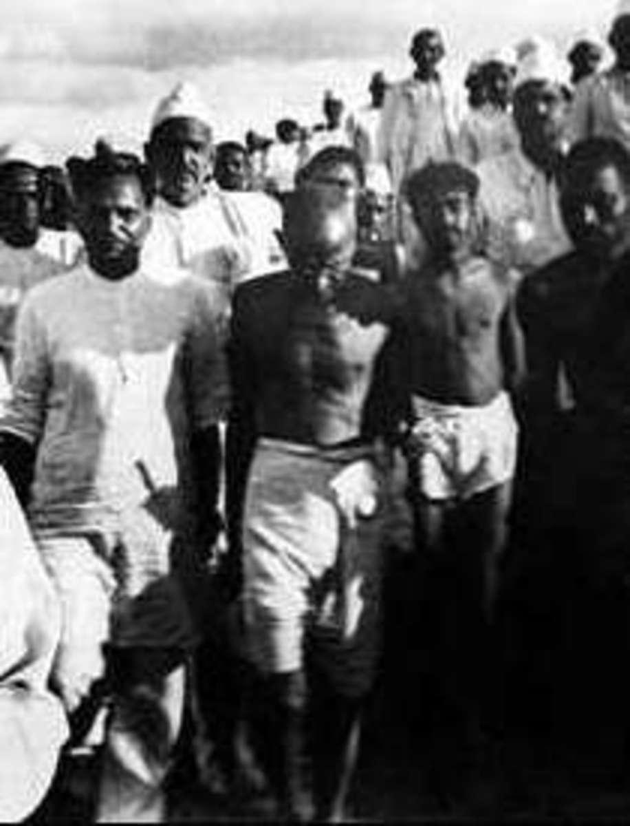 Mahatma Gandhi marching during Salt Satyagraha