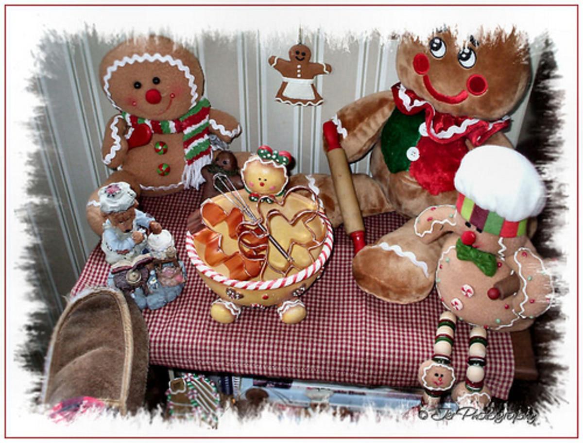 A gingerbread man display sets a festive mood!