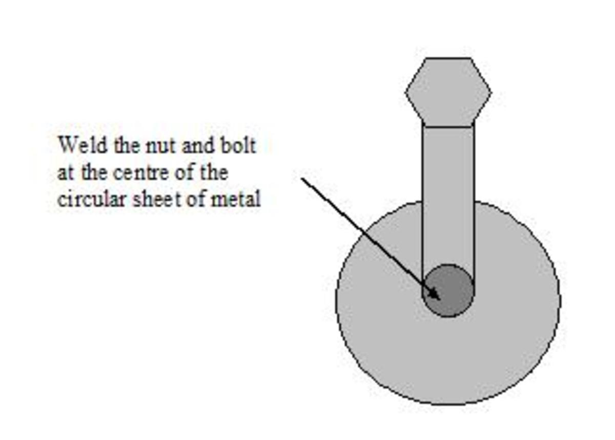 Weld the Nut and Bolt to the Circular Metal Sheets