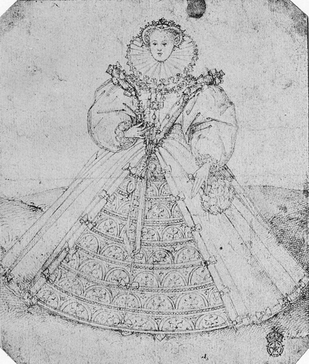 I think this is an exaggeration on how wide the skirts are in this gown to how tall this lady is, but the widening of the skirts is happening in the 1580's