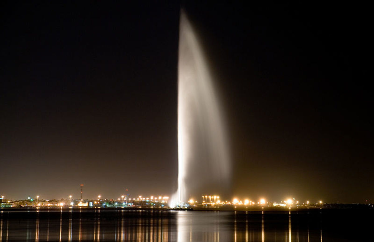 A 123 meter (404 feet) high fountain in Bahrain.