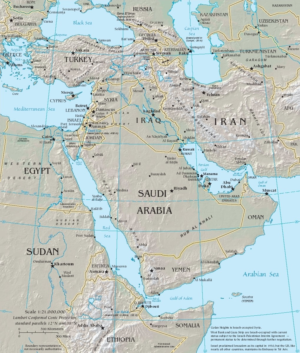Map showing conventional or traditional definition of the Middle East, with Egypt, Turkey, Yemen, and Iran as border countries.