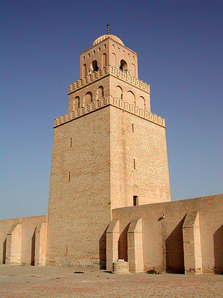 Minaret of the Great Mosque of Kairouan, Tunisia.