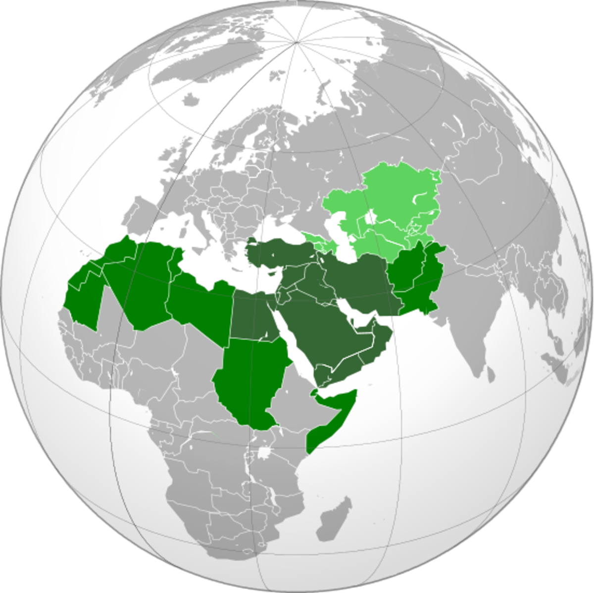 Map of the Greater Middle East, including North Africa and Western Asia.