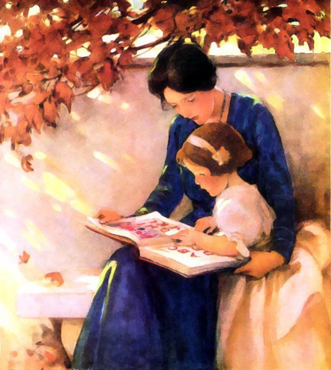 A painting of a mother reading a story book to her child.