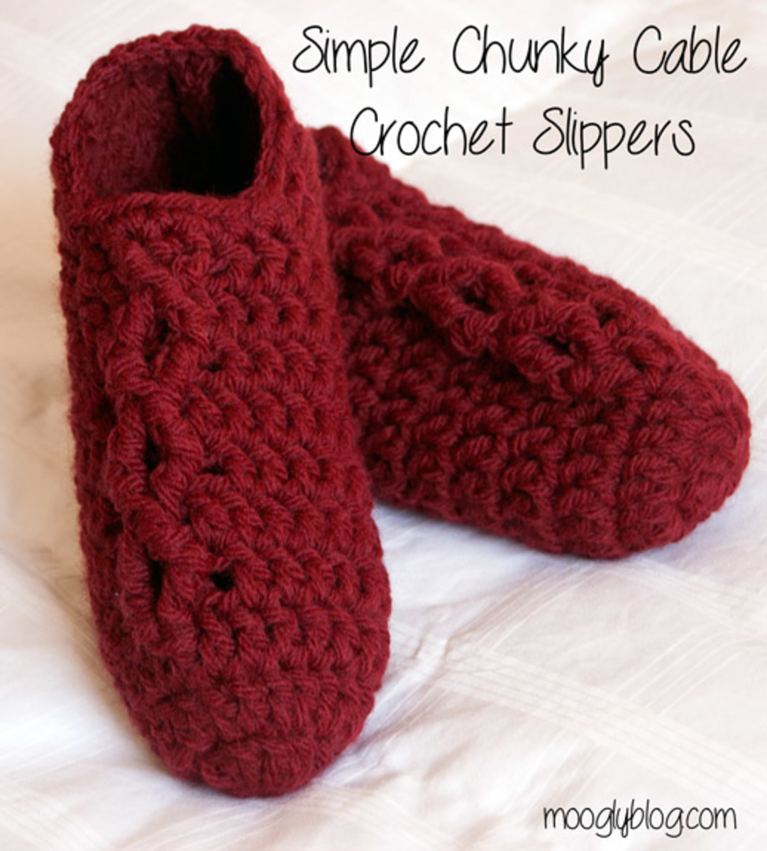 Crochet Simple Chunky Cabled Slippers