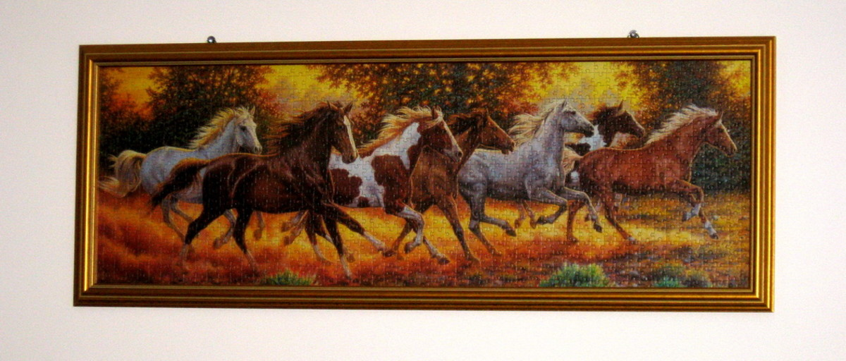 How to frame a jigsaw puzzle horses on the wall diy home project