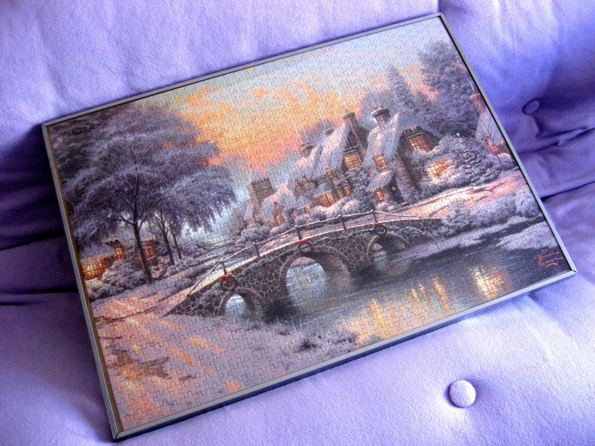 Picture by Thomas Kinkade in an aluminium frame from Ikea