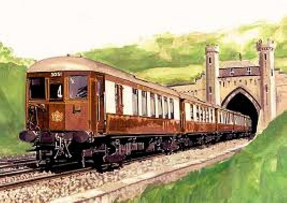... And there were the Pullman electric multiple units that to the South Coast from London termini. This is the Southern Railway's 'Brighton Belle' Pullman e.m.u - cab design was like other Southern electric passenger stock in the pre-WWII era.