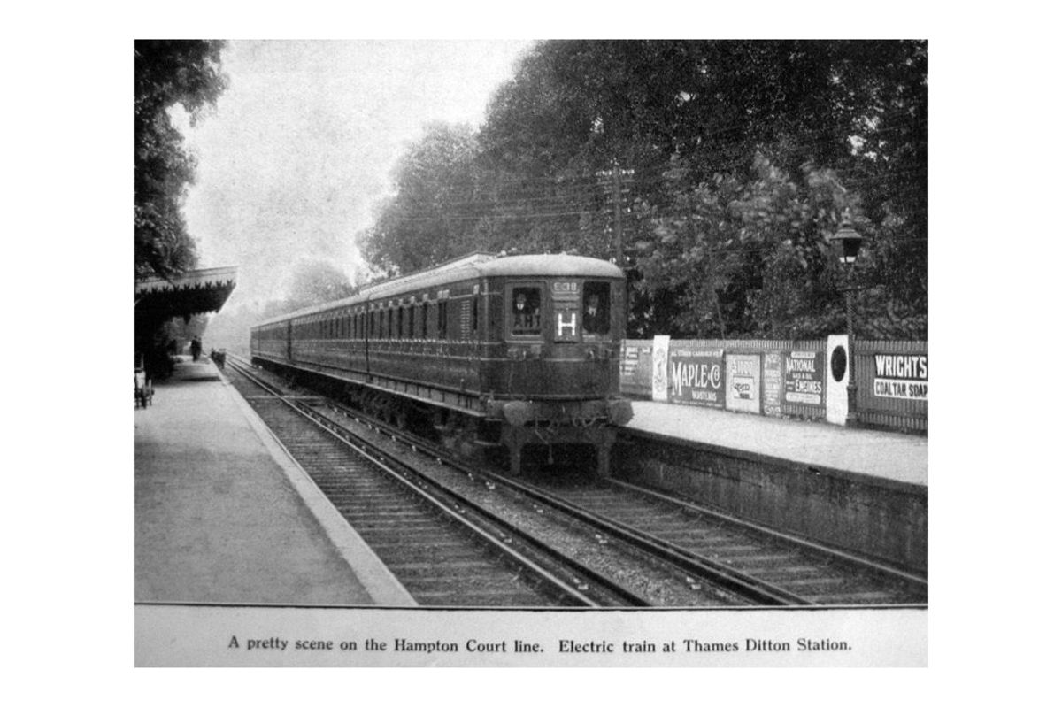 Twenties Southern Electric multiple unit at Hampton Court south-west of London