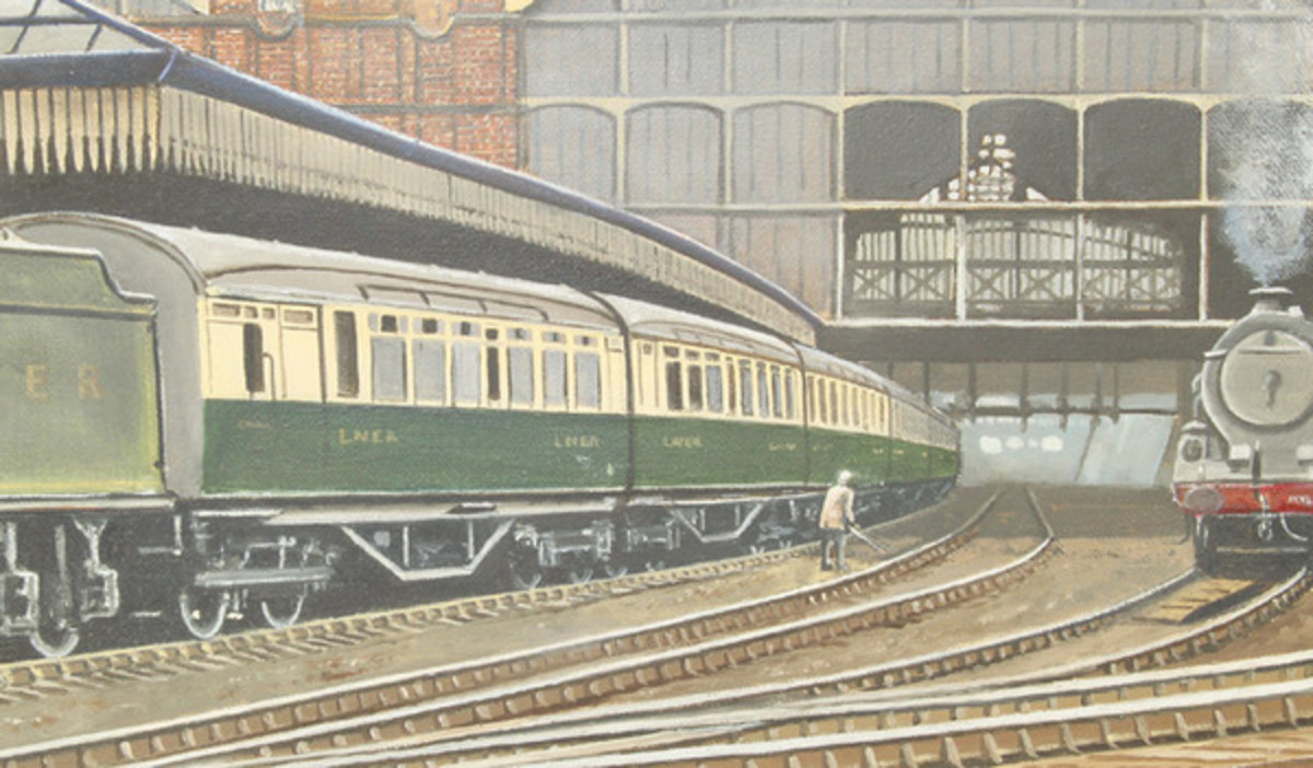 Framed watercolour of a K3 2-6-0 with tourist stock at a former GC main line station - possibly Nottingham or Sheffield Victoria in the 1930s. ('Mablethorpe here we come!')