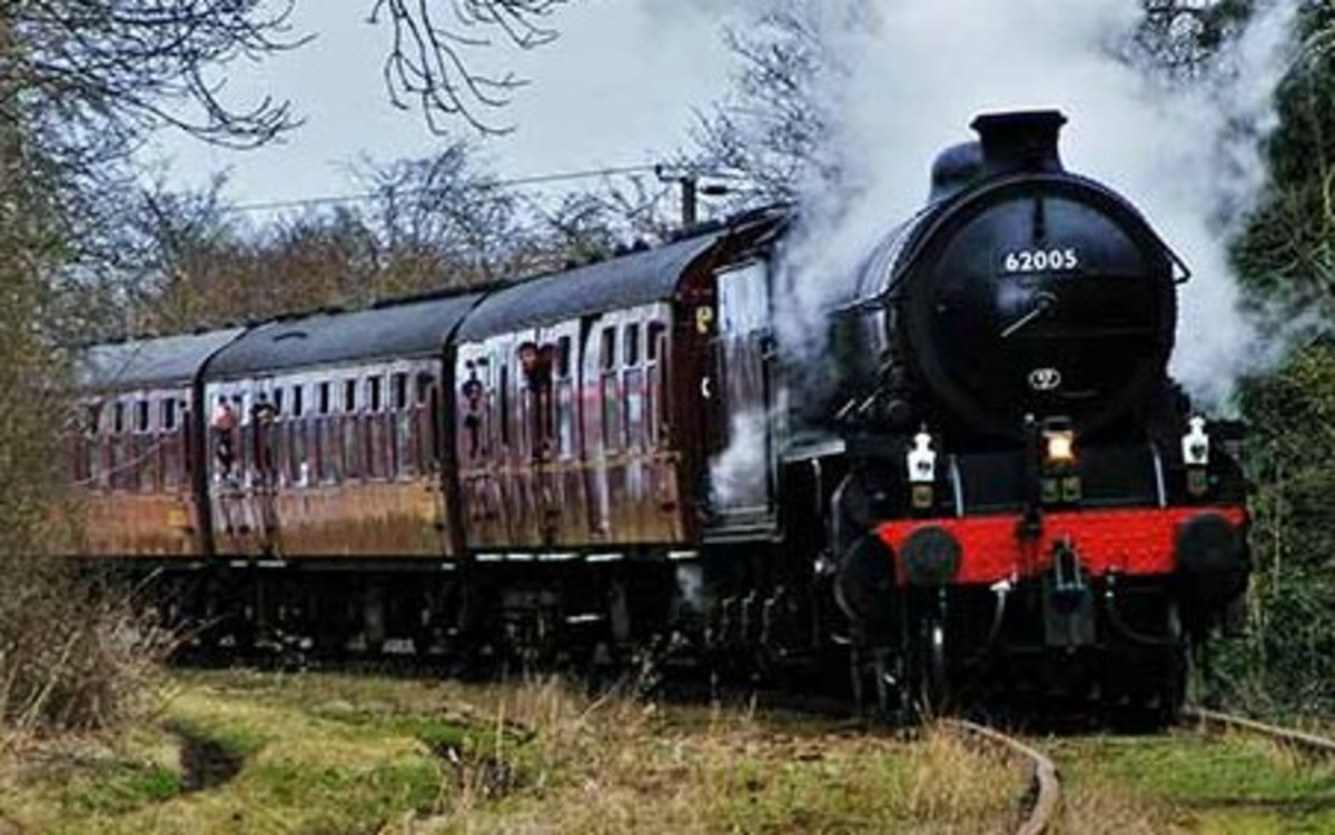 K1 62005 on tour on the Wensleydale Railway, March 2015 with earlier British Railways' C1 stock in maroon livery
