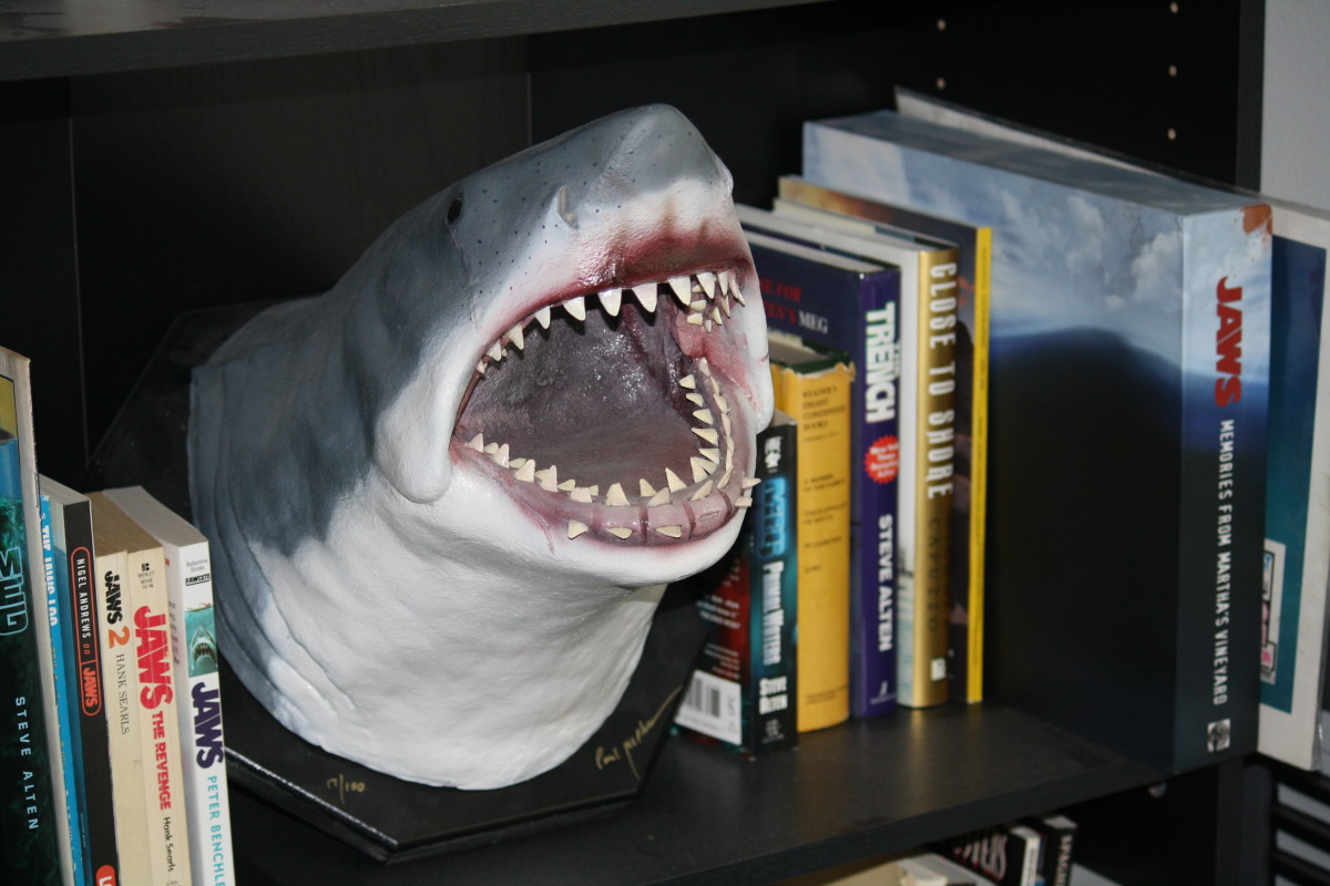 This fantastic Bruce sculpture by Paul McPhee graces my shark-dedicated bookshelf. It captures the hulking menace of the infamous mechanical monster really well, and greets me every morning.