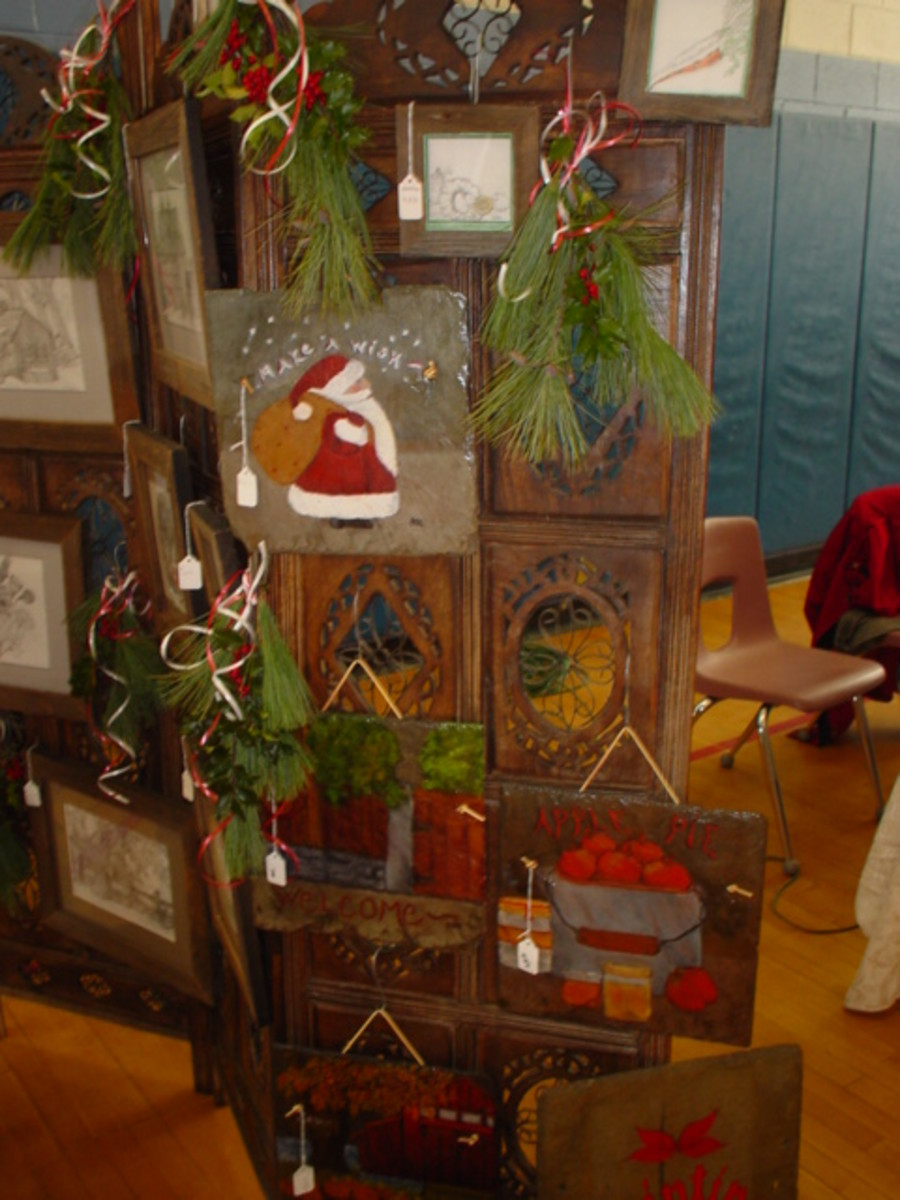 Hand Painted Slate at a Holiday Bazaar