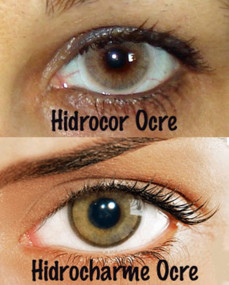 "Solotica's two ""ocre"" lenses. Hidrocor has no limbal ring, so the effect is softer, while Hidrocharme has a thicker, dark limbal ring, so the effect is stronger."