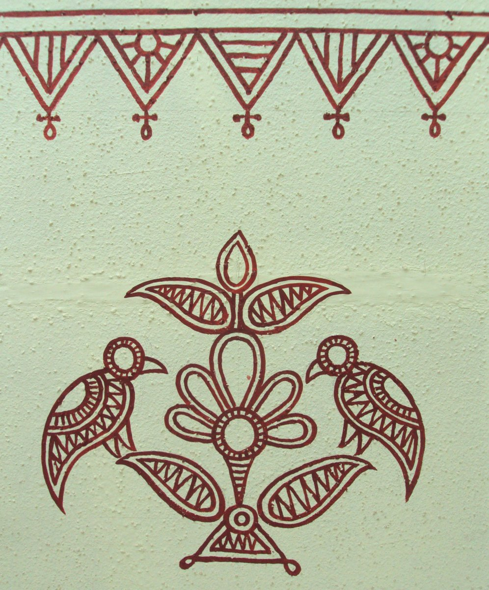 Bheenth Chitra - Sample motif for Indian tribal wall art