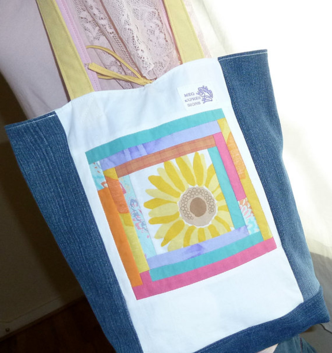 Upcycled Tote, made from recycled jean material