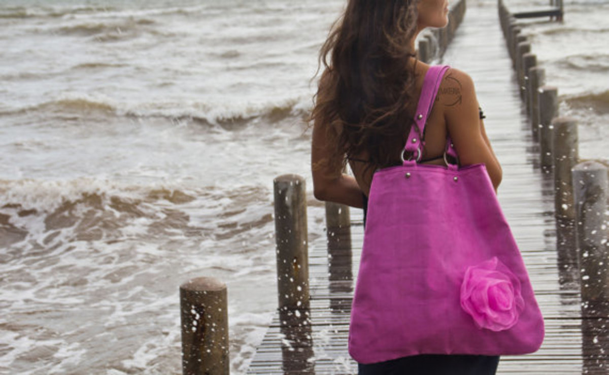 Smateria Recycled Mosquito Net Pink Flower Tote