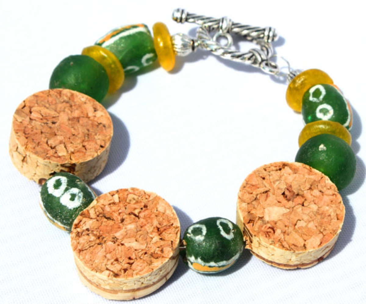Upcycled Wine Cork Jewelry- Green & Yellow Recycled Glass Bead Bracelet
