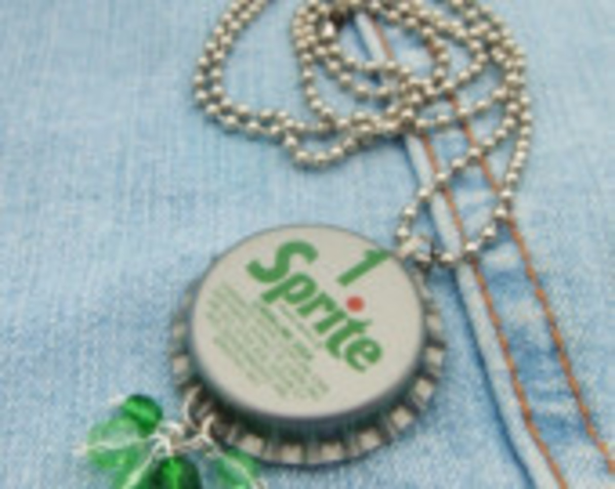Sprite bottle cap necklace