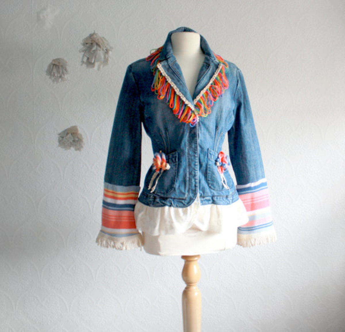 Ladies Bohemian Jacket Fringe Blazer Denim Multicolor Boho Shabby Chic Women's Upcycled Clothing