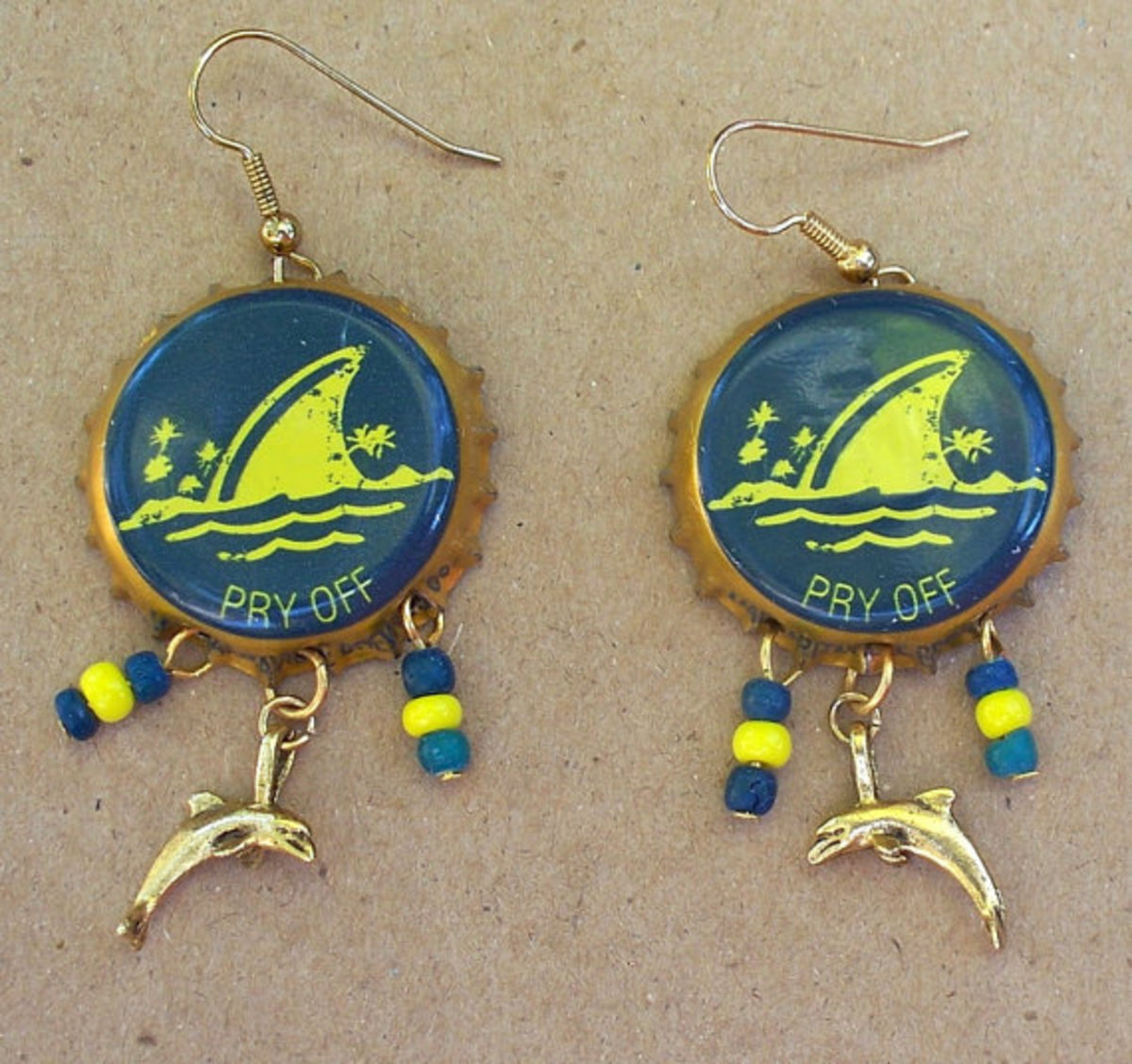 Nautical Bottle Cap Earrings, Teal and Yellow Upcycled Shark, Dolphin