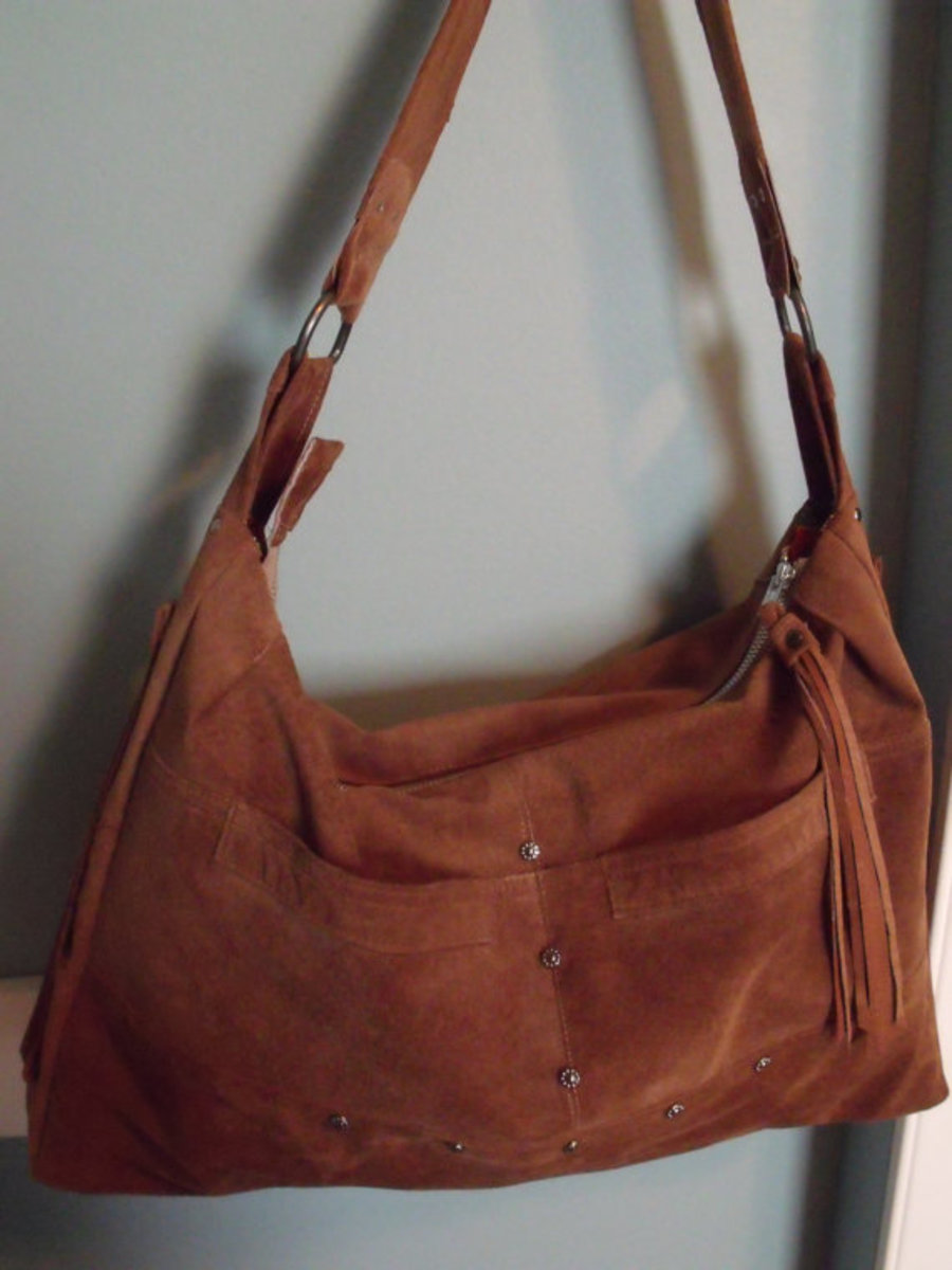 Large Suede Upcycled Tote