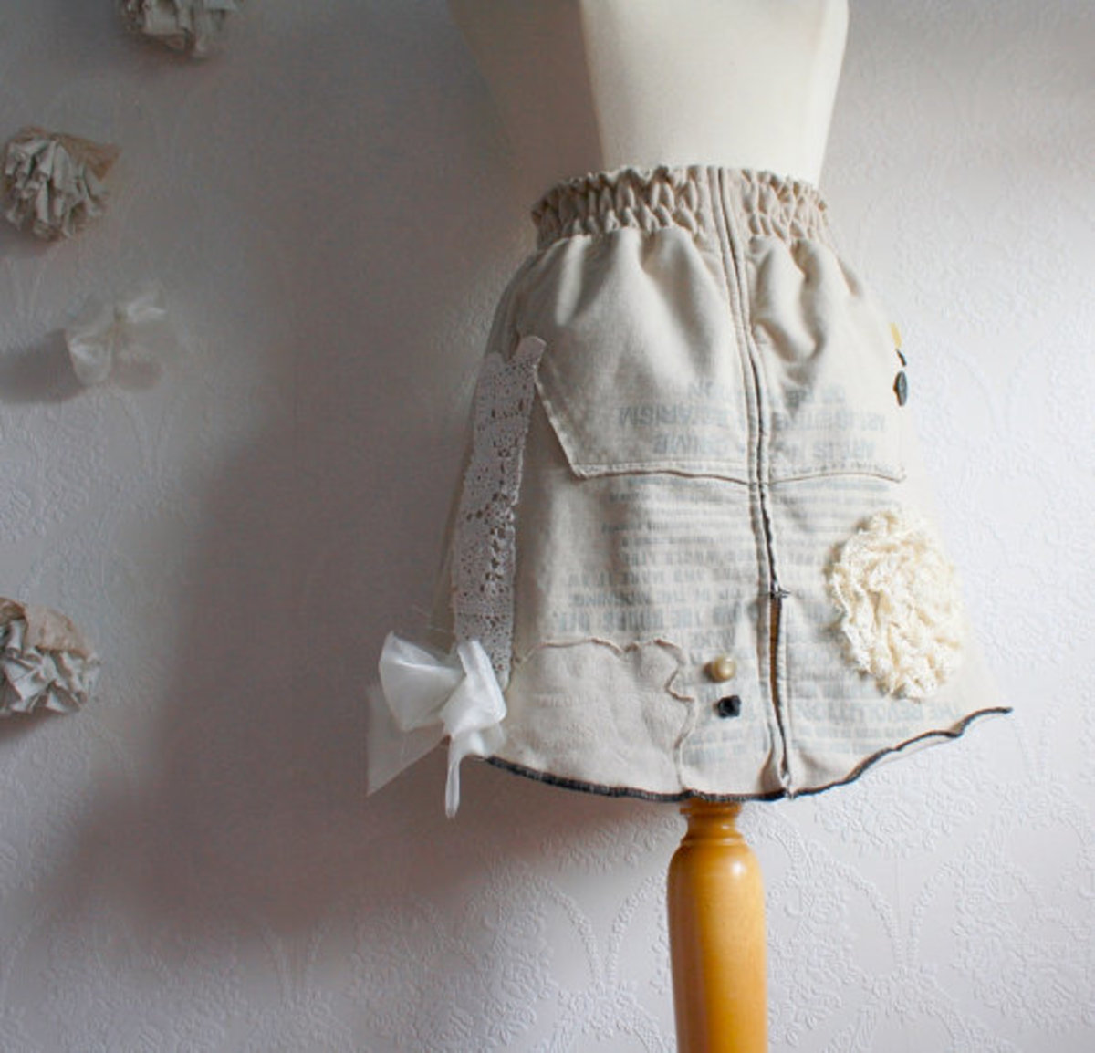 Beige Upcycled Mini Skirt Women's Clothing - made from old hoodie