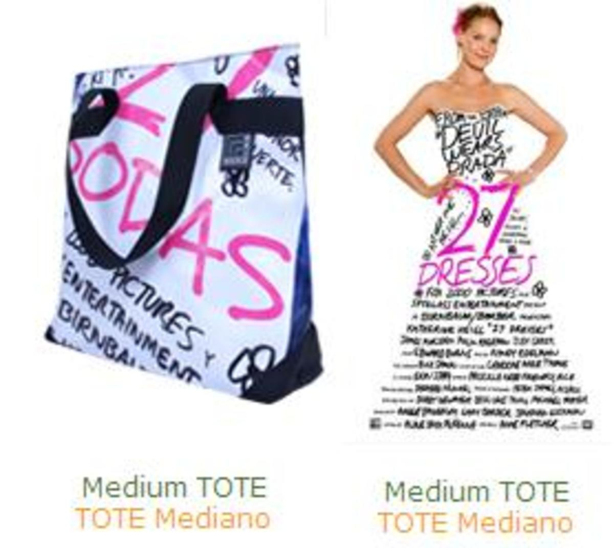 Modulab tote bag made from the banner of the movie 27 Dresses