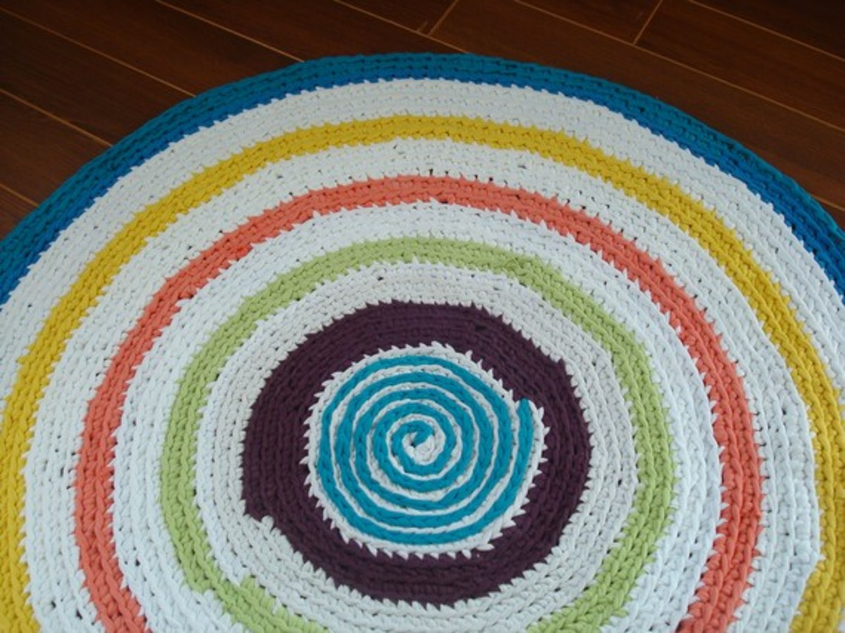 Upcycled T Shirt Round Area Rug