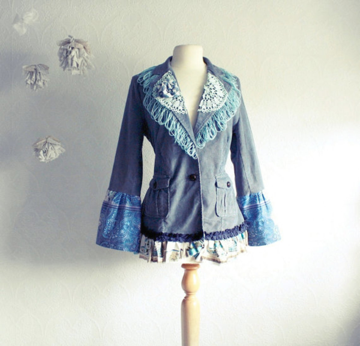 Bohemian Jacket Women's Upcycled Clothing Fringe Blazer Gray Blue Bell Sleeves Shabby Chic Eco Fashion Large 'MAISIE'