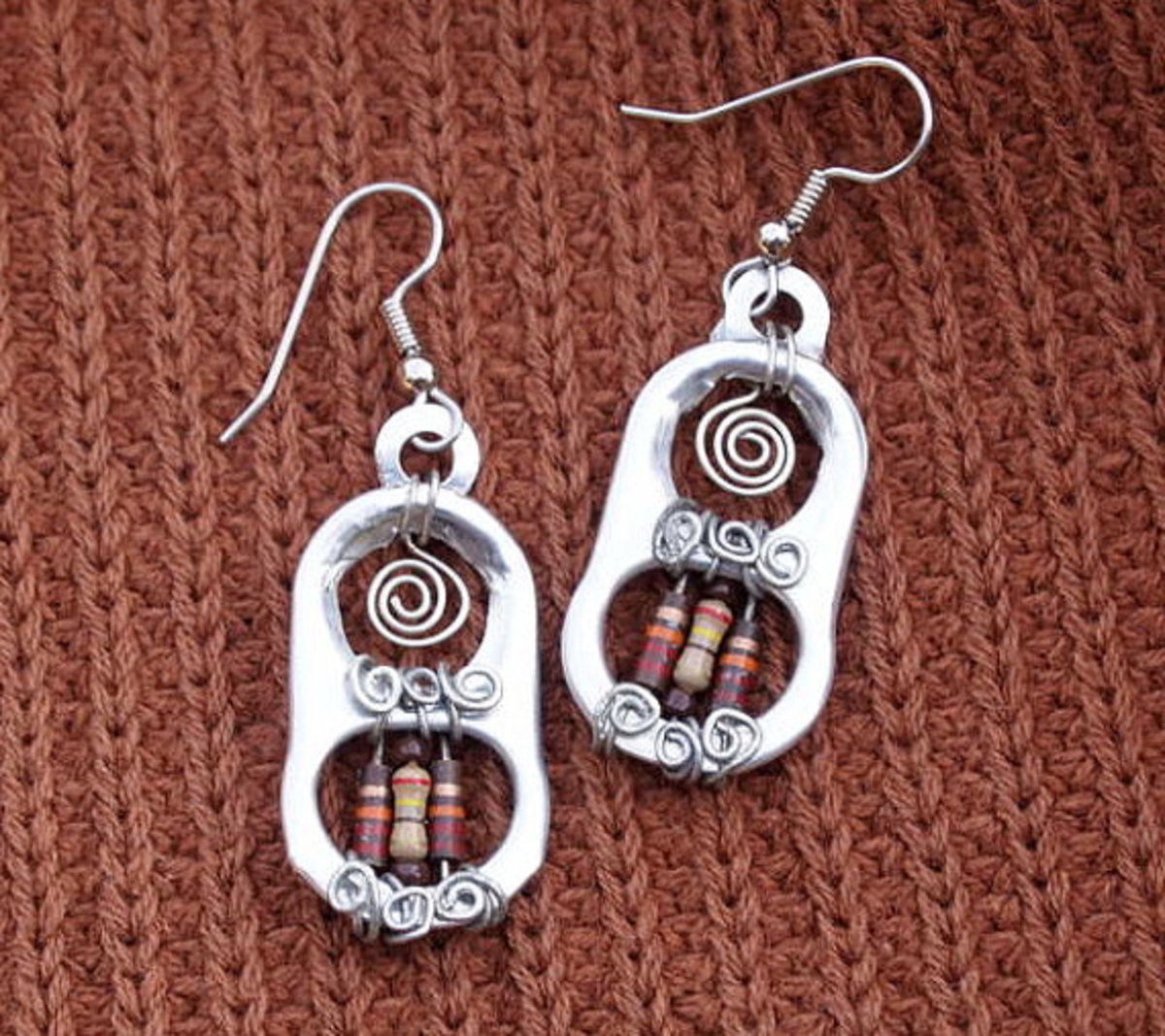 Upcycled Earrings, Silver Pull Tabs with Brown and Beige Resistors