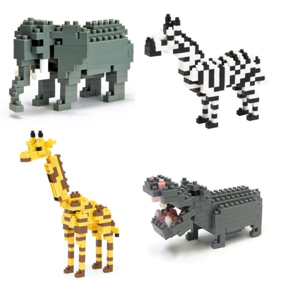 Nanoblock Animals Set: Elephant, Hippo, Giraffe & Zebra