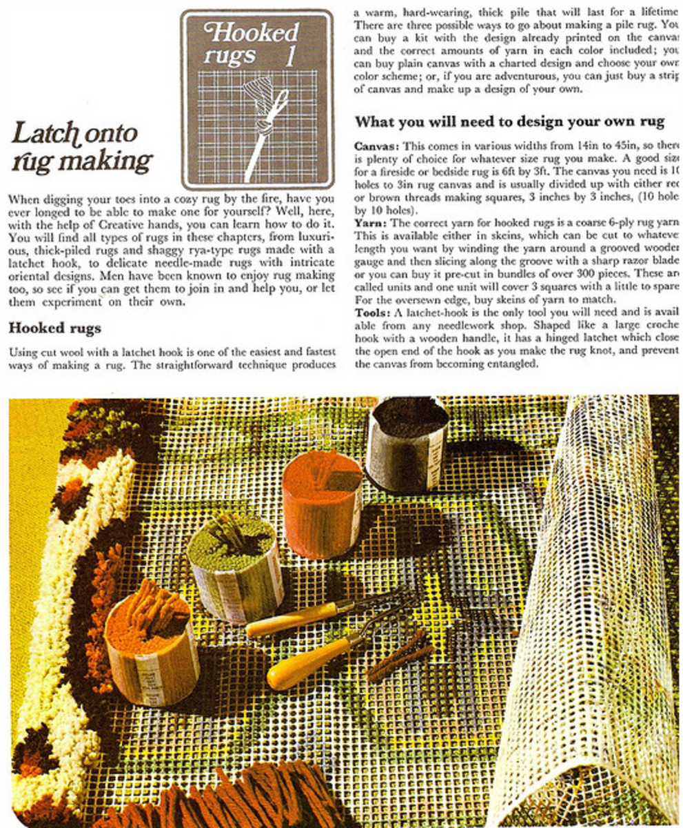 A nice introduction to latch-hooking from a 1975 book called 'Creative Hands'.