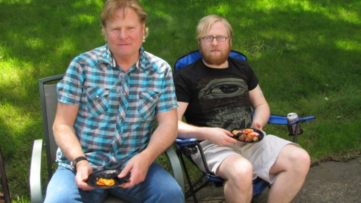 my dad and I in the Summer of 2010, taking a break from playing with army men.