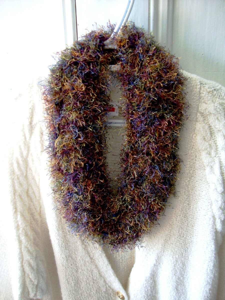 A multicolored fuzzy yarn used to make an attractive cowl.