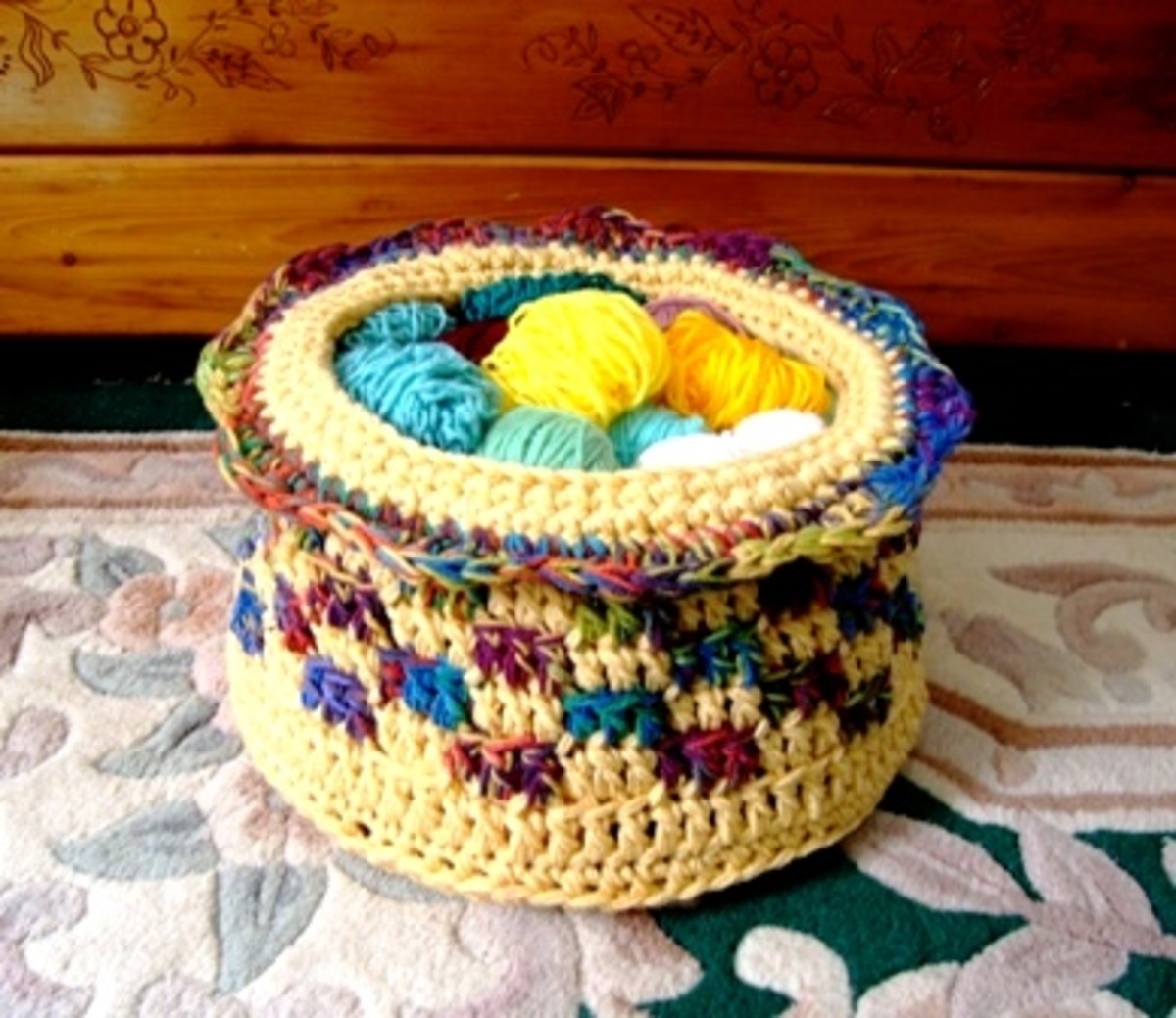 Crocheted Yarn Basket